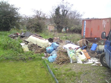 Rubbish cleared from the tree nursery site