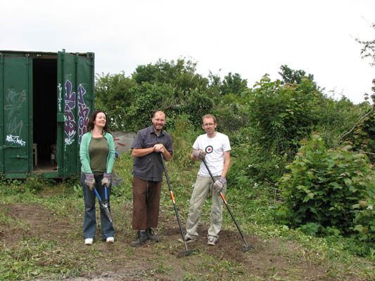 Elaine, Sefton and Steve pretending to have done some work
